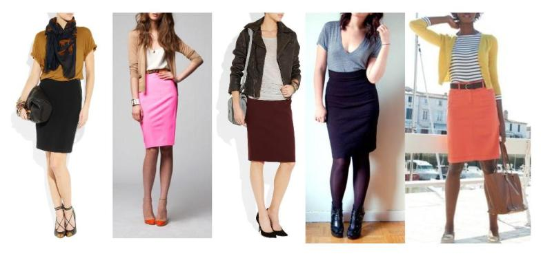 pencil skirt + loose fit tee-tank