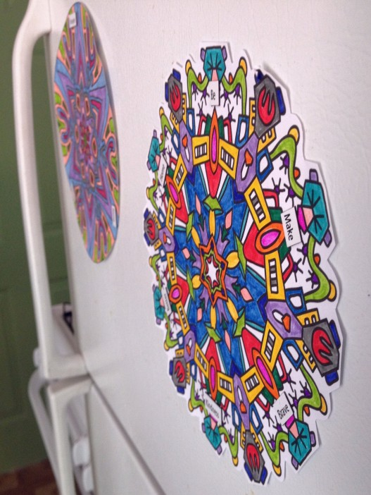 colored mandalas on fridge