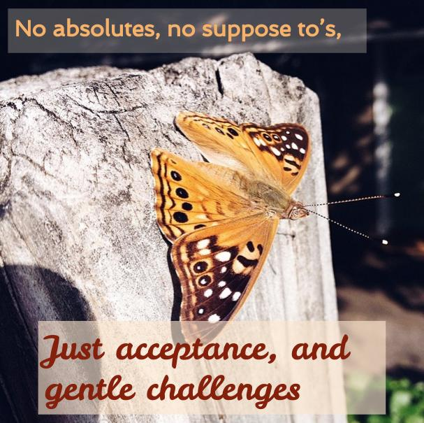 """butterfly with text """"no absolutes, no supposed to's, just acceptance, and gentle challenges' written on it"""