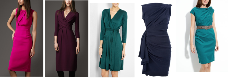 selection of draped tailored dresses