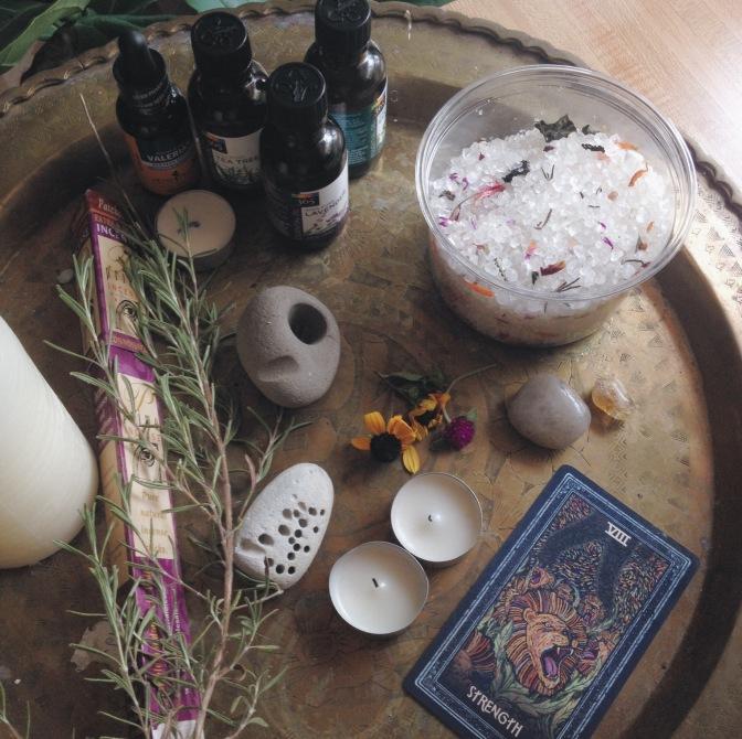 tray of new moon ritual items